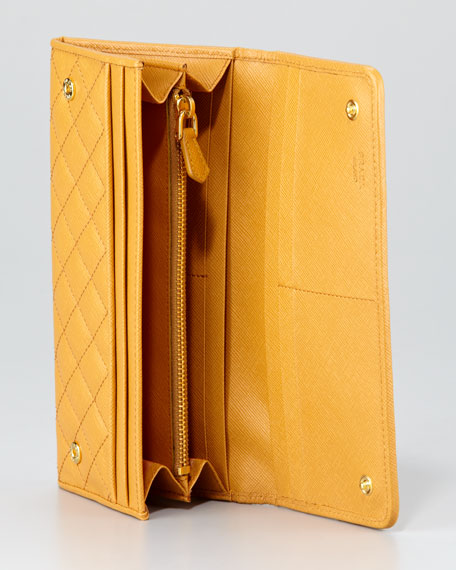 Quilted Saffiano Flap Wallet