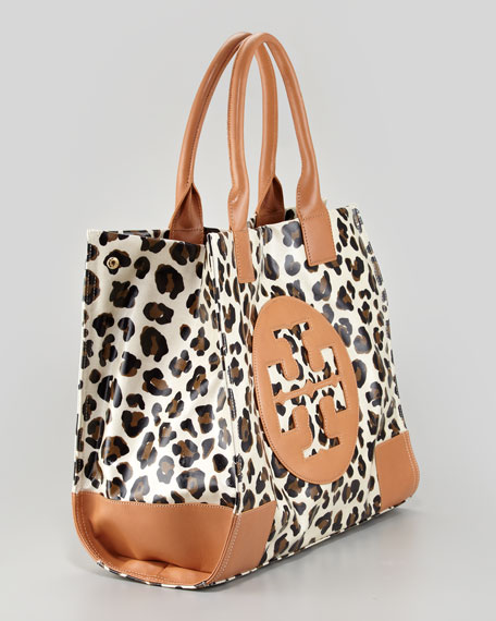 Ella Coated Animal-Print Canvas Tote Bag