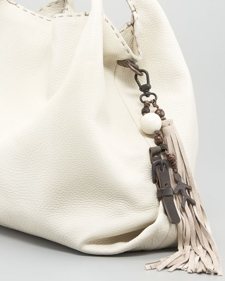 Calfskin Hobo Bag, Snow