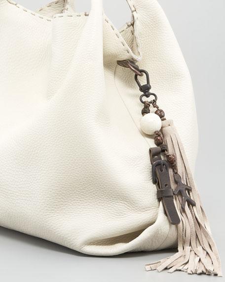 Calfskin Hobo Bag, Snow