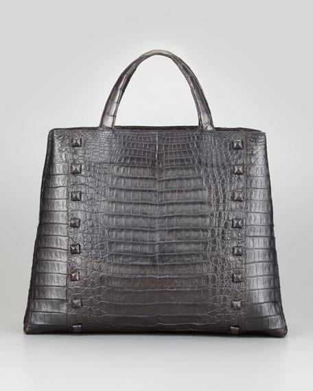 Studded Crocodile Tote Bag