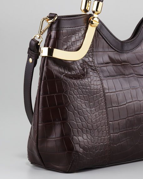 Emerson Crocodile-Embossed Tote Bag, Small