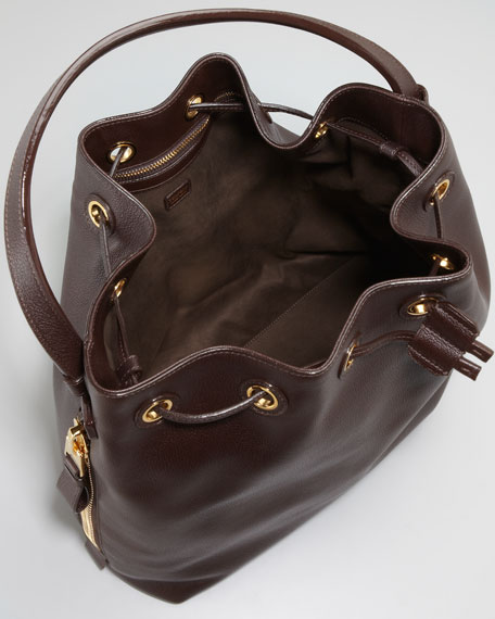 Drawstring-Top Bucket Bag