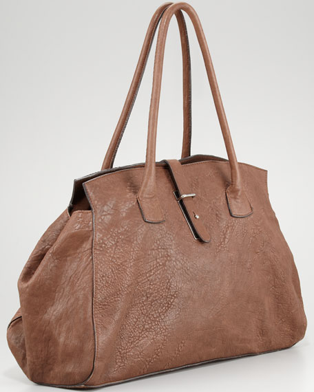 Pebbled Leather East-West Satchel Bag