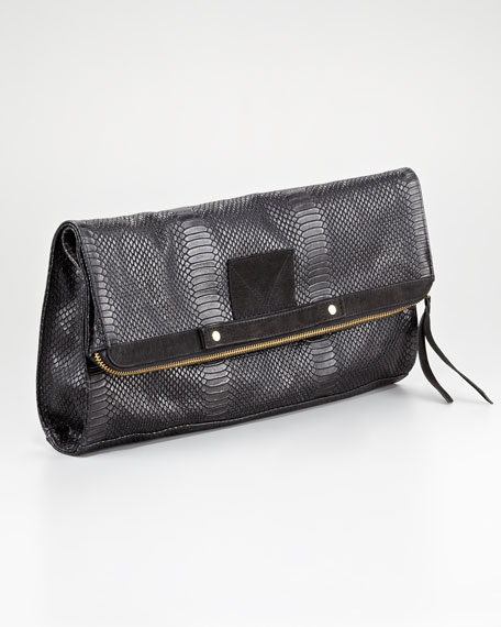 Banker's Oversize Fold-Over Clutch Bag