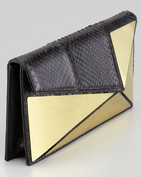 Marcil Plated Snakeskin Clutch Bag