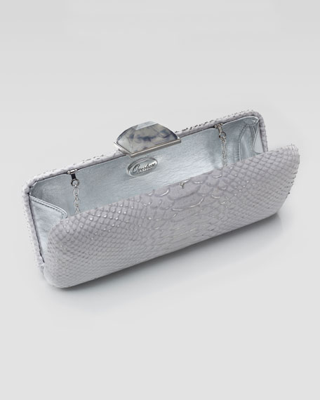 Jessica Slim Rectangle Snake-Embossed Clutch Bag, Silver/Gray