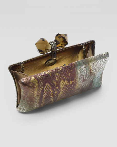 Vanessa Concave-Side Rectangle Clutch Bag