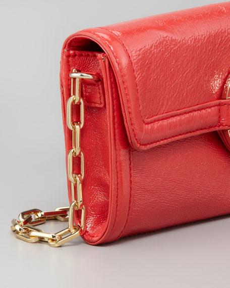 Amanda East-West Patent Clutch Bag, Lobster