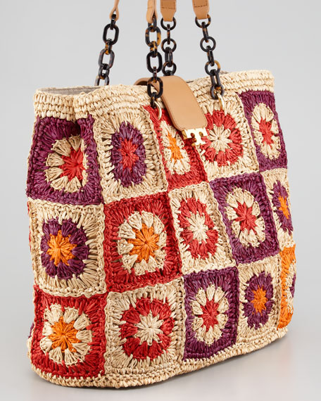 Fache Afghan Knit Large Tote Bag, Luggage