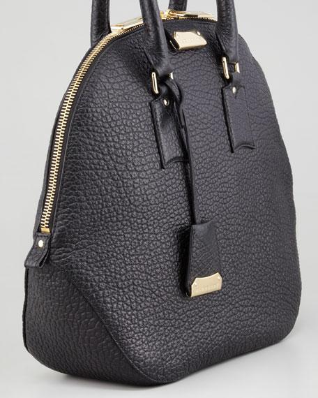 Medium Leather Bowler Bag, Black