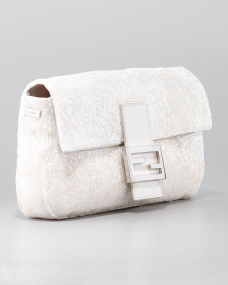 Beaded Shoulder Baguette, White