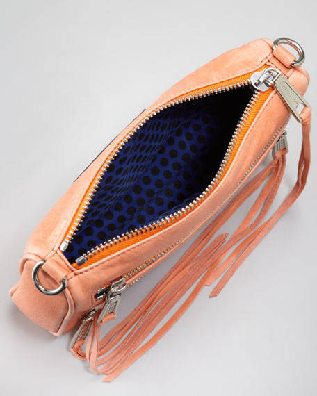 Zip-Front Leather Crossbody Bag, Coral