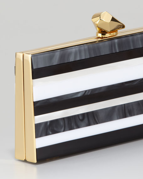 Levin Striped Enamel Large Minaudiere