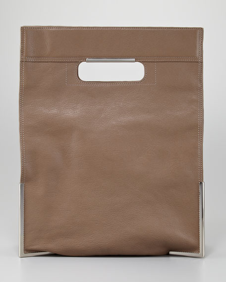 Scout Cutout-Handle Fold-Over Tote Bag, Latte