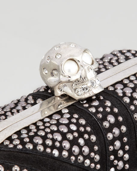 Britannia Crystal-Encrusted Skull-Clasp Clutch Bag