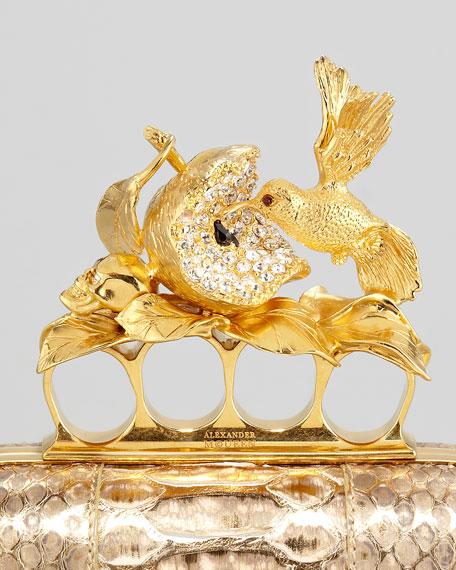 Apple & Hummingbird Knuckle-Duster Python Clutch Bag