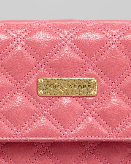 Eugenia Large Quilted Lambskin Clutch Bag, Bubblegum