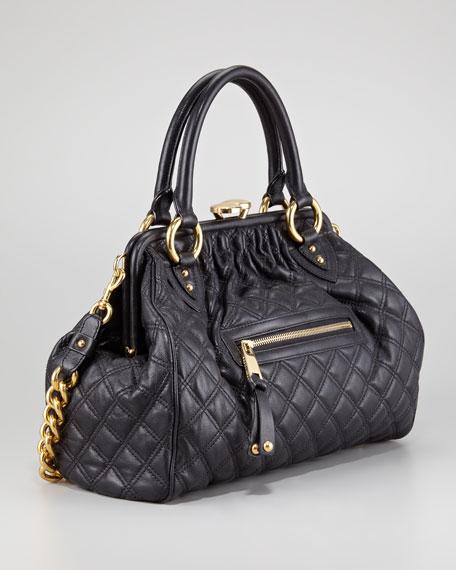 Stam Quilted Leather Satchel Bag Black