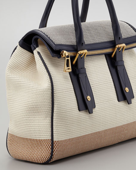 Dorchester 36 Woven Leather Satchel Bag, Bone/Navy