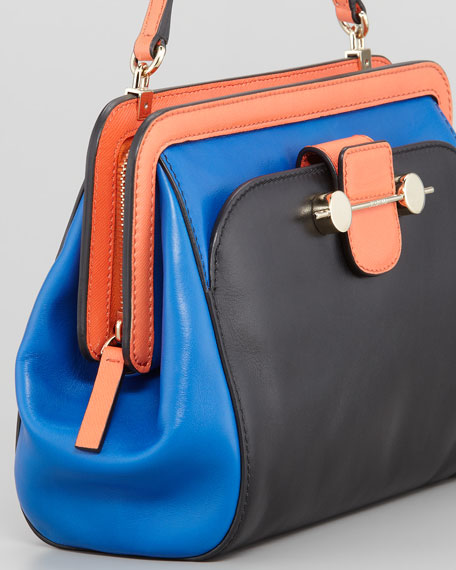Daphne Colorblock Crossbody Bag, Black/Blue