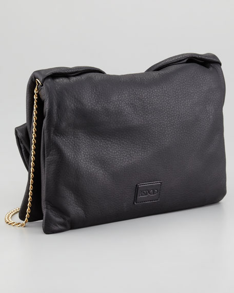 Bow Clutch Shoulder Bag, Black