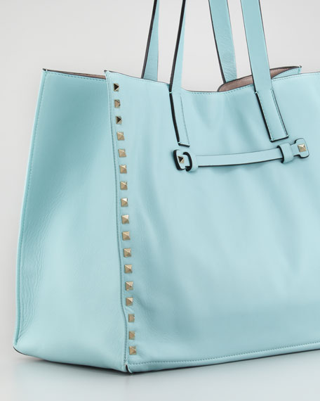 Rockstud Medium Tote Bag, Soft Turquoise