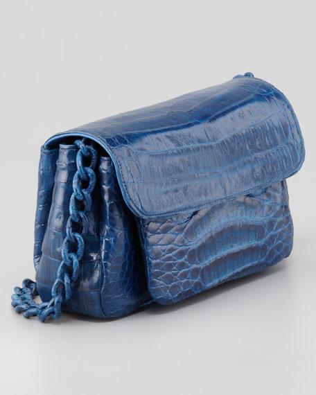 Crocodile Compartmentalized Boxy-Flap Crossbody Bag, Cobalt