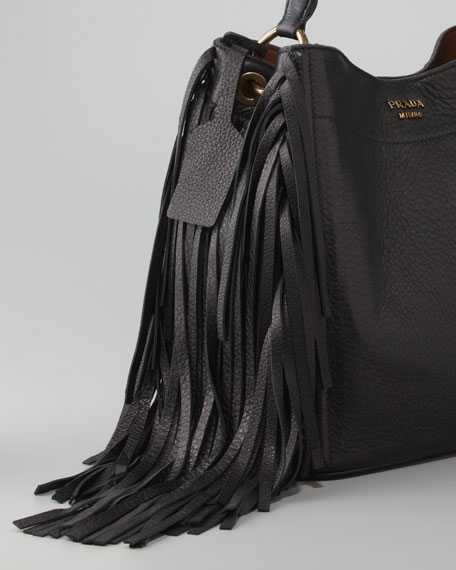 Cervo Fringe Hobo Bag, Nero