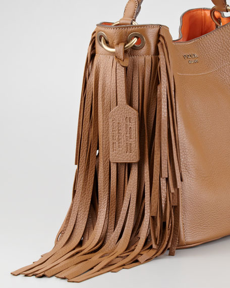 Cervo Fringe Hobo Bag, Cammello