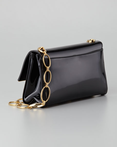 Spazzolato Chain Shoulder Bag, Nero