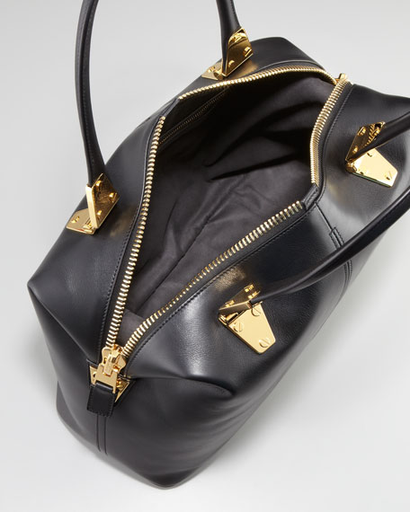 Natasha Black Calfskin Satchel Bag