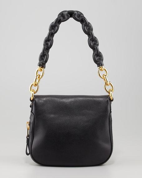 Jennifer Black Calfskin Maxi-Chain Shoulder Bag