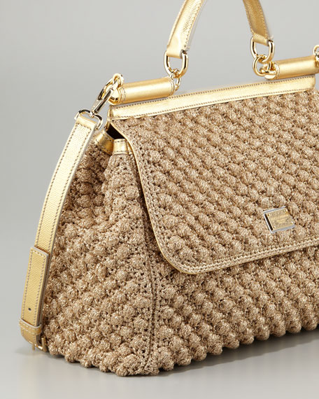 Dolce   Gabbana Miss Sicily Metallic Crochet Flap Bag 7b7575c39c