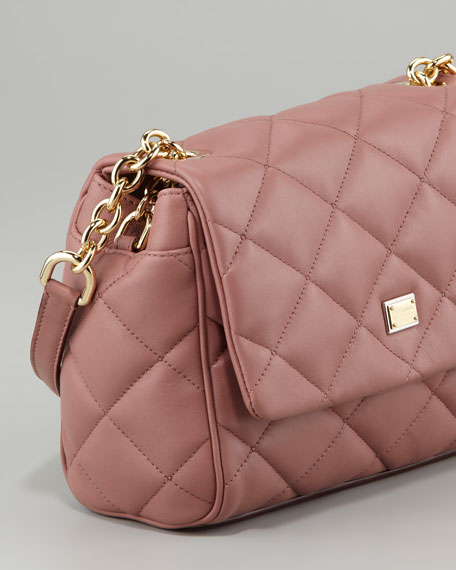Miss Kate Quilted Crossbody Bag, Dark Rose