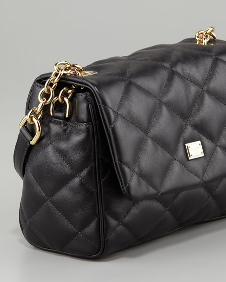 Miss Kate Quilted Crossbody Bag, Black