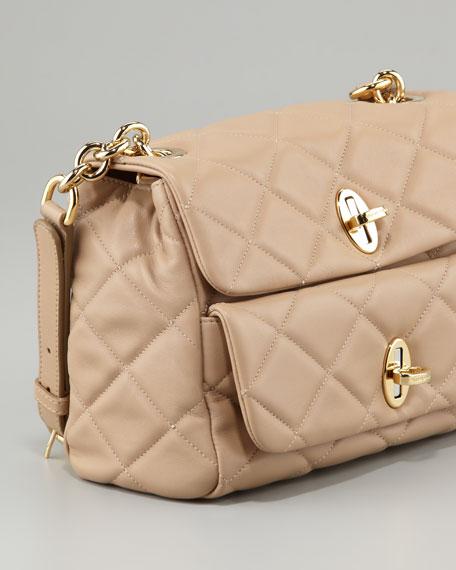 Miss Agnes Quilted Shoulder Bag, Beige