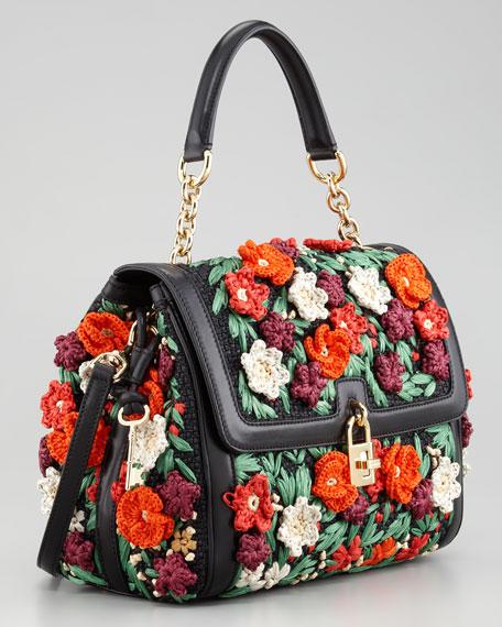 Miss Dolce Raffia Flower Padlock Flap Satchel