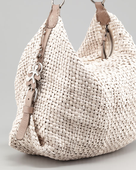 Woven Leather Hobo Bag, Cream