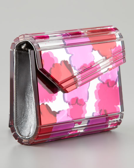 Candy Floral Design Inlay Clutch Bag, Pink