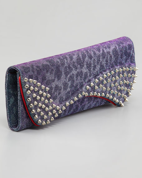 Pigalle Metallic Spotted Clutch, Turquoise/Violet