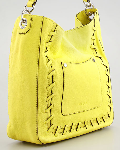 Whipstitched Leather Hobo Bag, Citrus