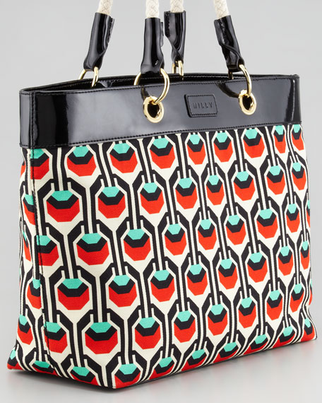 Geometric-Print Canvas Tote, Red/Green