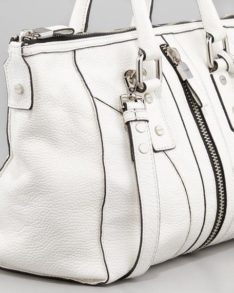 Jayden Zip Satchel Bag, White