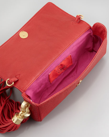 Claudette Tassel Clutch Bag, Poppy