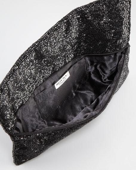 Skull Beaded Fold-Over Clutch Bag, Black