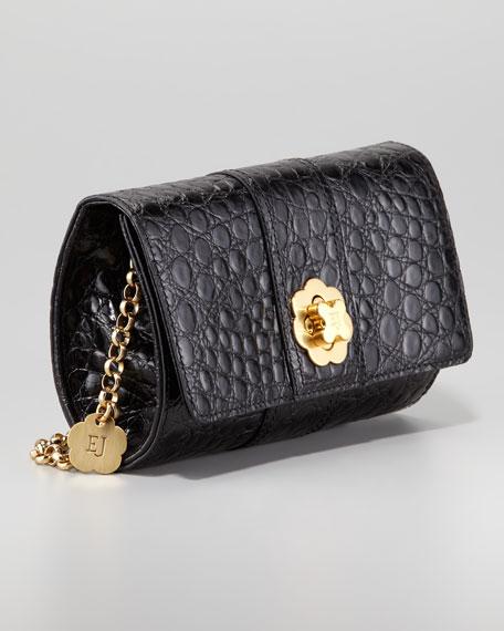 Slater Crocodile-Embossed Clutch Bag, Black