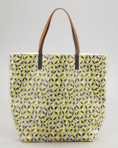 Mixed-Print Dove/Floral Tote Bag