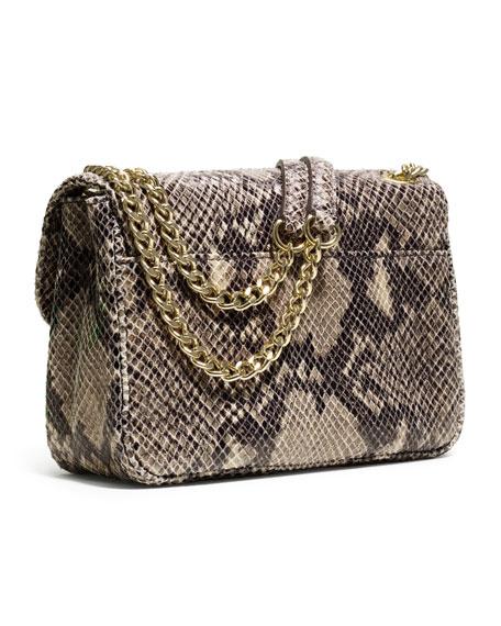 Small Sloan Snake-Embossed Shoulder Bag