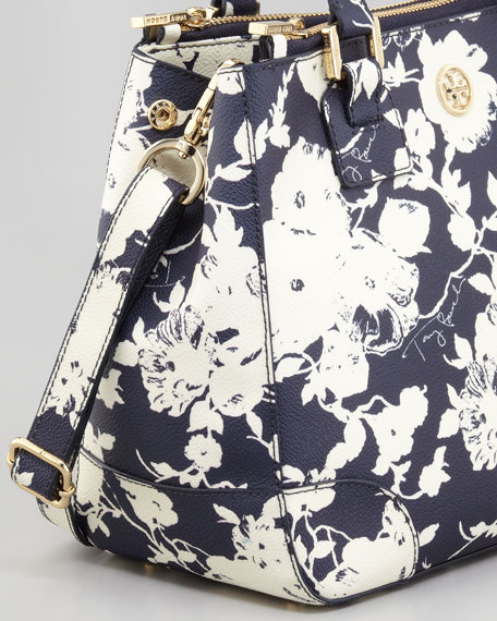 Small Double-Zip Floral-Print Tote Bag, Navy